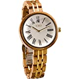 JORD Wooden Wrist Watches for Women - Cassia Series / Wood and Metal Watch Band / Wood Bezel / Analog Quartz Movement - Includes Wood Watch Box (Zebra & Ivory)