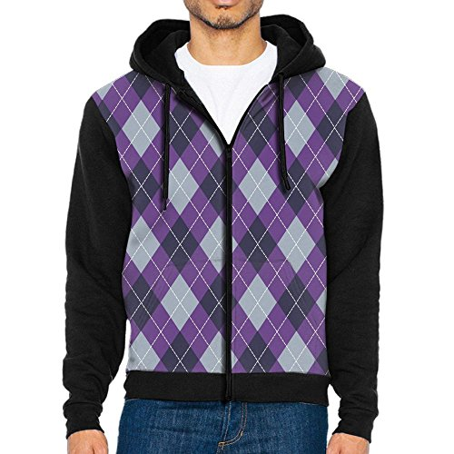 Liushibo Argyle Purple Grey 3D Men With Hat Hoodies Pullover Pocket Sweater Jacket Casual (Argyle Hoody)