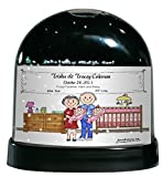 Personalized Friendly Folks Cartoon Caricature Snow Globe Gift: New Baby, Twins - Girls Great for baby shower gift, birth announcement, nursery décor, keepsake