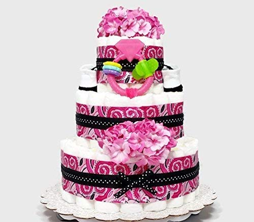 Pink Paisley Baby Girl Diaper Cake Shower Centerpiece