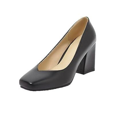 AgooLar Damen Ziehen auf PU Rund Zehe Kitten-Heels Rein Pumps Schuhe