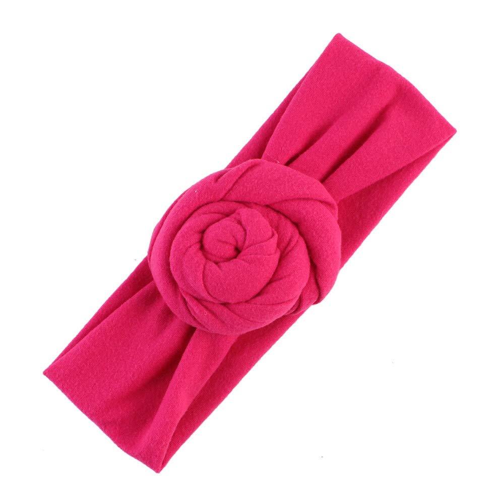 NUWFOR Cute Kids Girls Baby Toddler Turban Knot Headband Hair Band Accessories Headwear Hot Pink