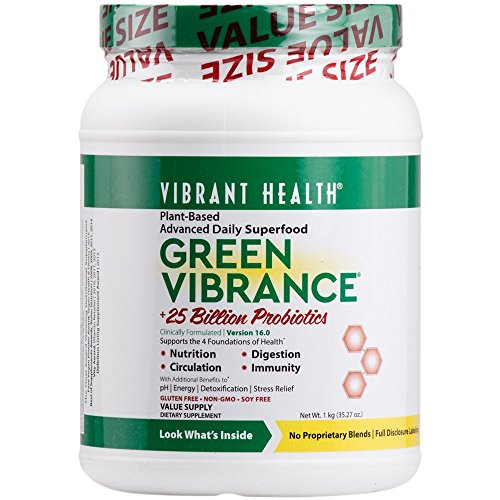 Vibrant Health - Green Vibrance, Plant-based Daily Superfood + Protein and Antioxidants, 84 Servings (Fruit Antioxidant Formula)