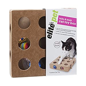 Pet Products, Cat Toy Box for Cat, Kitten, Interactive Indoor Puzzle Box, 3 Balls and A Mouse, 17 Holes, Hide & Seek 105