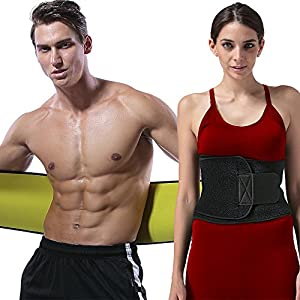 "CXYSY Waist Trimmer Belt Slimming Neoprene Ab Belt Trainer for Faster Weight Loss, Stomach Fat Burner Wrap Tummy Control (L:9""x 48"")"
