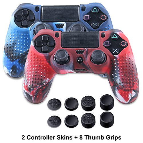 Silicone Skin for PS4 Controller - Anti-slip Covers for DualShock 4 - Anti-slip Protector Case for Sony PS4, PS4 Slim, PS4 Pro 2 PS4 Controller Skins - 4 Pairs PS4 Thumb Grips - Camo Blue & Camo Red