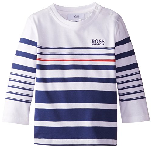 Hugo Boss Baby Baby Boys' Striped Tee Shirt with Logo Embroidery, White, 18 Months
