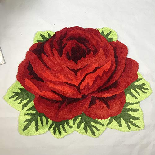 (Ustide Modern Style Rug Soft Rose Rug Handmade Rug Anti-Slip Area Carpet Living Room Wedding Rug Kitchen Mats Bedroom Rug(Red, 80cmx60cm))
