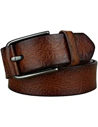 Bullko Men's Pin Buckle Casual Genuine Leather Belt
