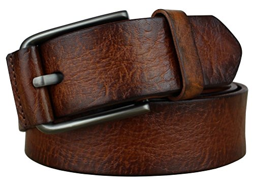 Bullko Men's Pin Buckle Casual Genuine Leather Belt Brown - Belt Leather Genuine