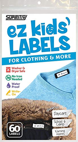 Ez Kids Clothing Labels Self-Stick No-Iron Write-On | Great for Children & Adults | Washer & Dryer Safe | School, Camp, Nursing Care, Toys, Organizing, All Purpose | 1 Sheet of 60 Blank Labels