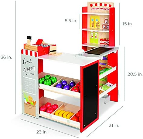 Best Choice Products Pretend Play Grocery Store Wooden Supermarket Toy Set for Kids w/ Play Food, Chalkboard, Cash Register, Working Conveyor