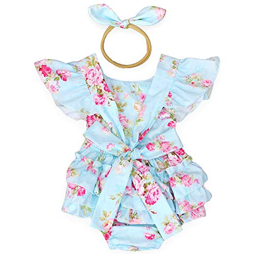 Baby Girls Cotton Vintage Floral Ruffle Rompers Clothing Headband Set (Blue, 1-2 T)