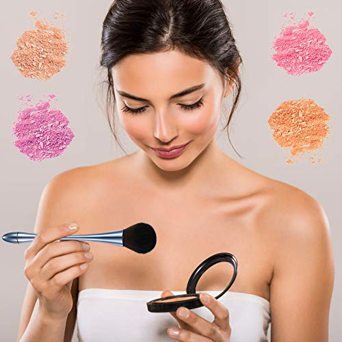 2 Pieces Large Mineral Powder Brush Nail Brushes Kabuki Makeup Brushes Soft Fluffy Foundation Brush Blush Brush for Large Coverage Loose Powder Bronzer Blush Blending Buffing (Blue)