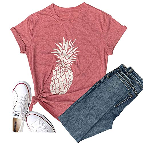 Hellopopgo Pineapple Printed Funny Casual T Shirt Women's Summer Fruits Lover Short Sleeve Tops Tee Blouse Girl (Medium, Red)