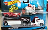 Hot Wheels City Rig - Drivin' Wild Semi and Trailer with Nitro Coupe - White Truck - Red Car - 1:64 scale vehicle