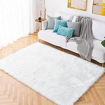 Image of Carvapet Shaggy Soft Faux Sheepskin Fur Area Rugs Floor Mat Luxury Bedside Carpet for Bedroom Living Room, 6ft x 9ft,White