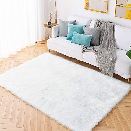 Carvapet Shaggy Soft Faux Sheepskin Fur Area Rugs Floor Mat Luxury Beside Carpet for Bedroom Living Room 5ft x 7ft…