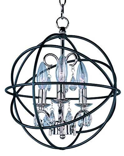 Maxim Lighting 25140 Orbit Single-Tier Chandelier, Anthracite/Polished Nickel Finish, 12 by - Light Bronze Single Foyer Fixture