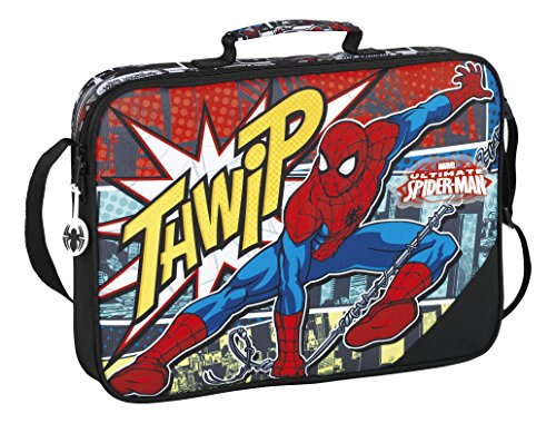 Marvel Spider-Man Ultimate Borsa Messenger, 38 cm, Nero (Negro)