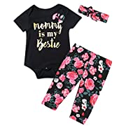 Baby Girls' 3PCS Mommy is My Bestie Outfit Set Floral Romper (3-6 Months)