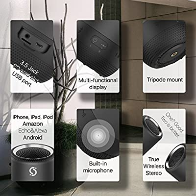 Bluetooth Speaker Portable for Home and Outdoor - IPX6 Waterproof Mini Speakers with Loud HD Sound & Rich Bass, Pair Mode, Built-in-Mic, AUX & TF Black