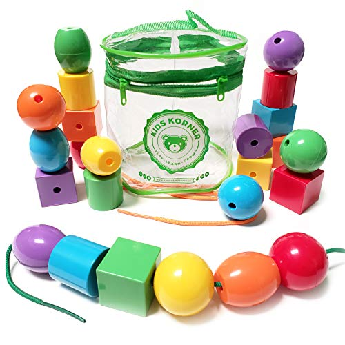 Kids Korner Lacing Stringing Beads  Fine Motor Montessori Toddler Toys with eBook Travel Tote 24pc