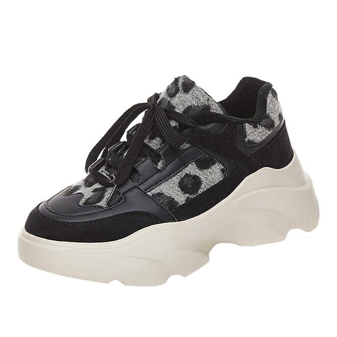 Bestow Zapatos Casuales de Terciopelo con Estampado de Leopardo y Terciopelo. Zapatillas de Plataforma con