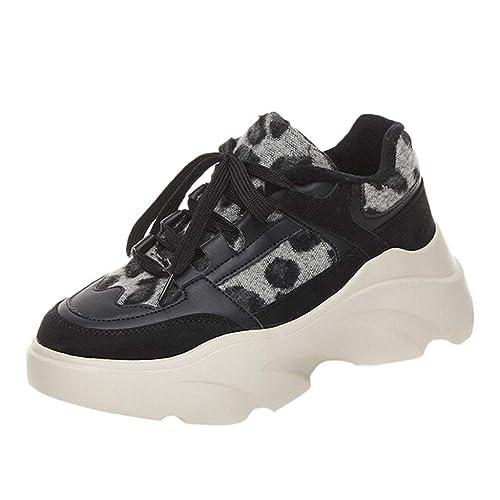Zapatillas Deportivo Plataforma Cuña para Mujer Primavera Verano PAOLIAN Zapatos Escolares Running Aire Libre Exterior Señora Casual Leopardo Calzado Piel ...