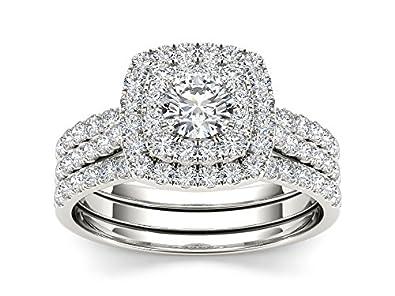 10k White Gold Diamond Double Halo Engagement Ring Set 1 12 cttw