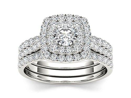 Tdw Wedding Ring Set (De Couer 10k WhiteGold 1 1/4ct TDW Diamond Double Halo Engagement Ring Set (I-J, I2))