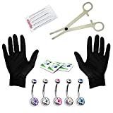 BodyJ4You 15PCS Professional Piercing Kit Multicolor Steel 14G Double CZ Belly Navel Ring Body Piercing Set