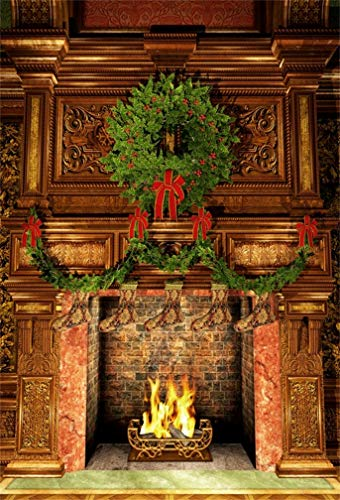 Leyiyi 5x7ft Merry Christmas Fireplace Backdrop Rustic Brick Wall Xmas Banner Socks Wreath Garland Pine Branch Fire Flame Photography Background Rural Room New Year Photo Studio Prop Vinyl Wallpaper