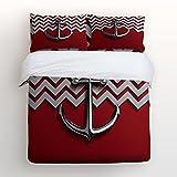 Duvet Cover Set Red Stripes Wave Polished Metal Anchor Print 100% Brushed Cotton Soft 4 Piece Duvet Cover Set Duvet Cover Flat sheet Pillow Cases Bed Sheet Set(King)