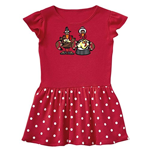 inktastic Mr. and Mrs. Tom Turkey Toddler Dress 4T Red With Polka Dots 236 (Turkey 566)