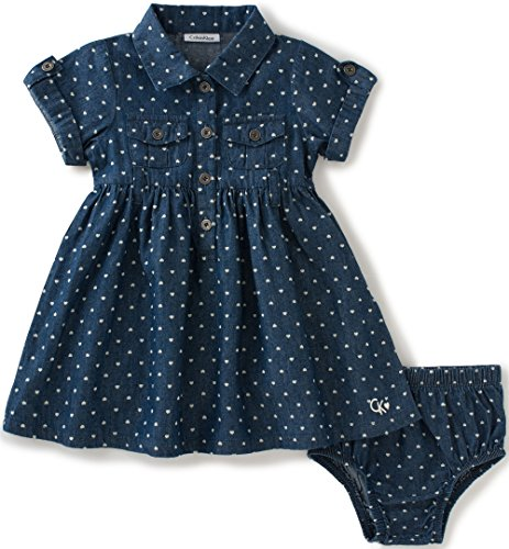 Calvin Klein Baby Girls' 2 Pieces Denim Dress with Panty, Dark Blue, 18M