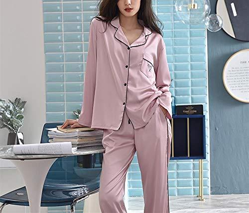 Satin Larga De Manga Ropa Dormir 2 Rosado Piezas Saten Pijamas Elegante Mujer Camisones b Bordado tw0naq