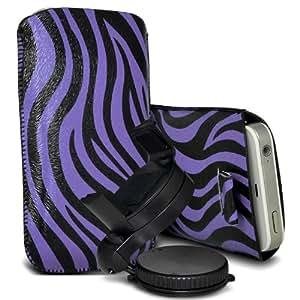 Nokia Lumia 520 Protección Premium de Zebra PU tracción Piel Tab Slip Cord En cubierta de bolsa Pocket Skin rápida con el sostenedor 360 giratorio del parabrisas del coche cuna Púrpura y Negro por Spyrox