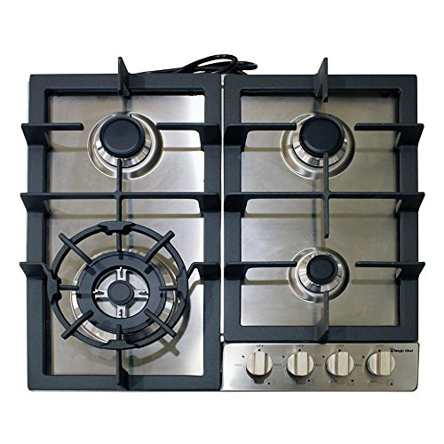 "Magic Chef Built MCSCTG24S 24"" Gas Cooktop with 4 Burners, Stainless Steel"