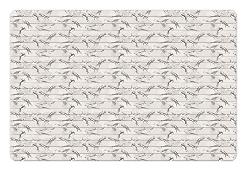 Ambesonne Birds Pet Mat for Food and Water, Spotted Neck Swallow and Red-Rumped Swallow Perching on Parallel Wires, Rectangle Non-Slip Rubber Mat for Dogs and Cats, Pale Grey and Dimgrey