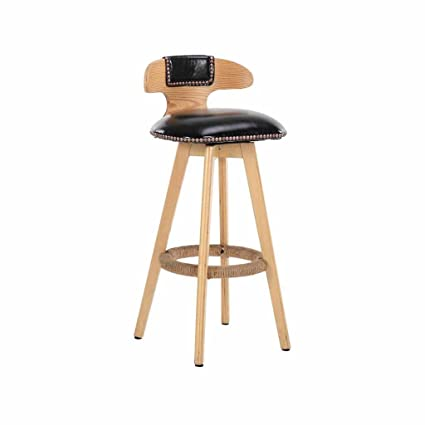 Wooden Bar Stool Swivel Counter Tall Chairs Kitchen Front Stools Backrest Footrest Faux Leather Soft Padded