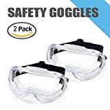 Safety Goggles 2 pack, Protective Chemical Splash Safety Glasses with Cystal Clear and high Impact Resistance Design, Perfect Eye Protection for Lab, Chemical, and Workplace Safety.