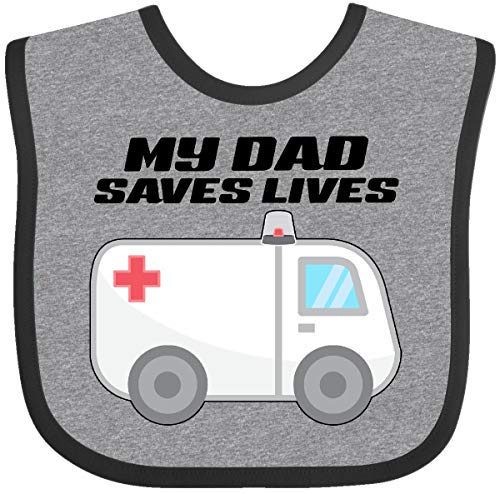 Inktastic - My Dad Saves Lives- Ambulance Baby Bib Heather and Black 301f5