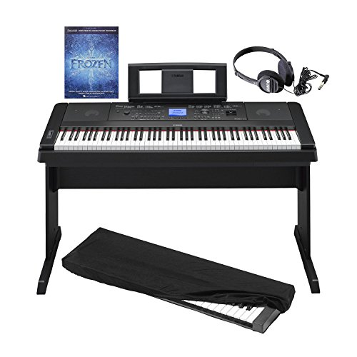 Yamaha DGX660 - 88 Key Portable Grand Digital Piano with Built-in Speakers & Acoustic Settings in Black with Dust Cover, Stereo Headphones and Frozen: Piano Book (Speaker For Piano Yamaha)