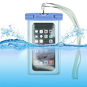 Waterproof Case Bag : Stalion Sports Universal Water Safe Pouch(Cyan Blue) 100 Feet IPX8 Certified with Touch Responsive Screen + Camera Hole + Neck Strap - Fits All iPhone 6 6s, 6 Plus 6s Plus, Galaxy S6+, Note 5 4, iPod Touch, HTC One and all other smartphones
