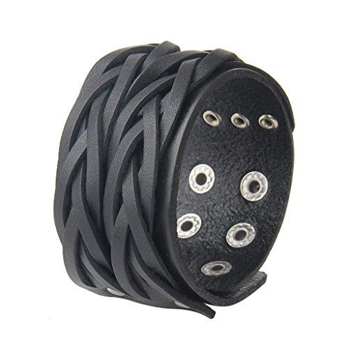 (AZORA Punk Leather Bracelet Handmade Cuff Bangle Braided Wristband Adjustable Bracelets for Men,Kids,Boys,Women (AL029-BLACK))
