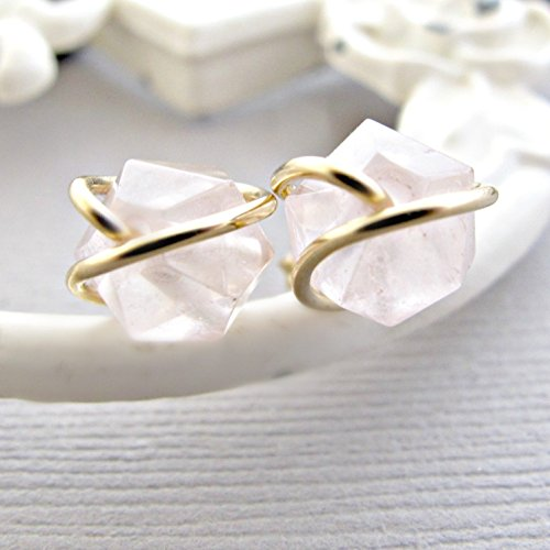 Rose Gold Rose Quartz Ring - Rose Quartz Studs, Gemstone Earrings, Quartz Studs,14kt Gold Fill, Rough Earrings, Crystal Earrings, Pink Studs, Gemstone Earrings, Light Pink Earrings, Gold Earrings, Gold Studs