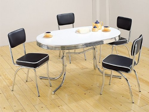 (Coaster Home Furnishings 5pc Retro Style Chrome Plated Dining Table & 4 Black Chairs Set )