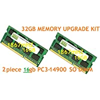 32GB (2 X 16GB) DDR3-1866MHz PC3-14900 SODIMM for Apple iMac 27 Late 2015 Intel Core i7 Quad-Core 4.0GHz MK472LL/A CTO (iMac17,1 Retina 5K Display)