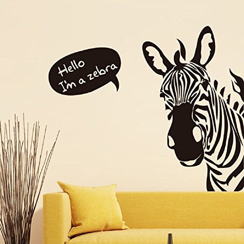 Cheap  BIBITIME Saying Hello Black White Zebra Wall Stickers Nursery Bedroom Vinyl Decal..